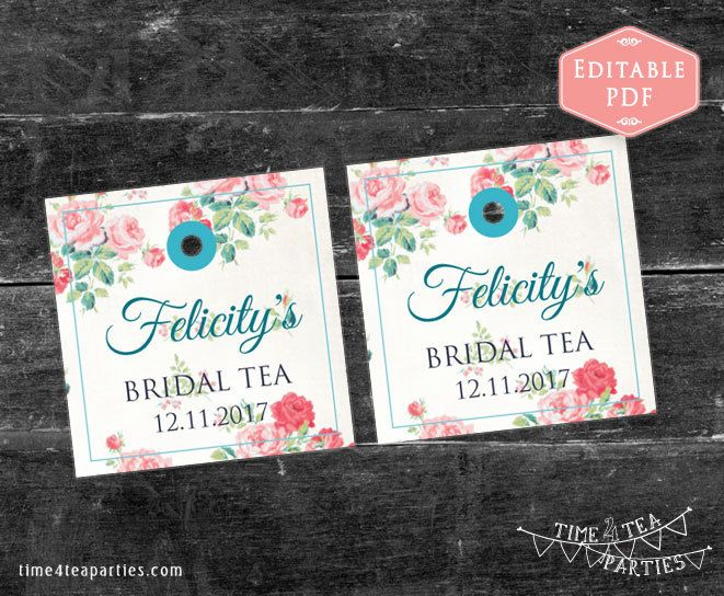 Tea Bag Tags Pink floral. Editable PDF with Teal Blue text. Download Today - Bridal Tea - Kitchen Tea - Baby Shower - High Tea. Printable. by Time4TeaParties on Etsy