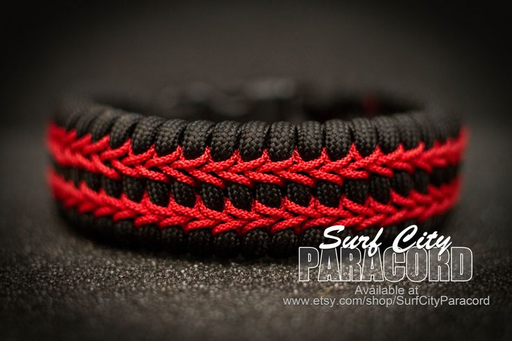 Black trilobite 550 paracord bracelet with red micro cord ...
