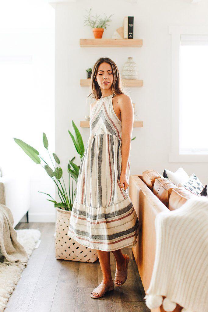 b28cb05cb4d4 Babe Striped Woven Dress