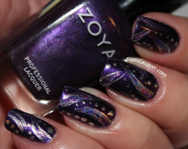Abstract nail art using Zoya Suri and Color Club Eternal Beauty (holo) - outlines to stripes and some dots done with Zoya Trixie
