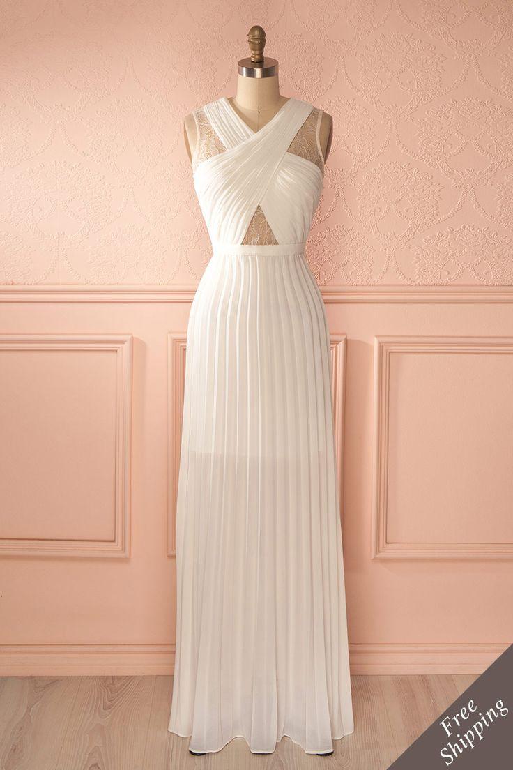 Jameelah - White lace cut-outs maxi dress