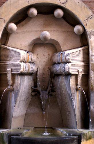 Via degli Staderari, Fontana dei Libri (Fountain of the books). Rome, province of Rome, Lazio region Italy .