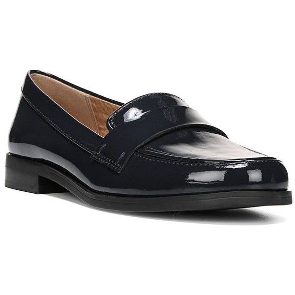 Franco Sarto Women's Valera Glossy Loafers ($71) ❤ liked on Polyvore featuring shoes, loafers, navy blue, loafer shoes, franco sarto shoes, patent loafers, navy blue patent leather shoes and navy patent shoes