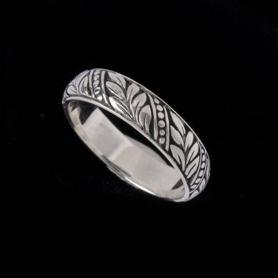 Perfect Laurel Leaf Wedding Band Engraved Collection by BowmanOriginals