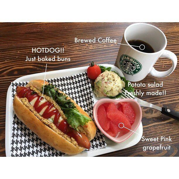 おはようございます。#goodmorning  #朝食 とってからの #DIY男子 始めます。#breakfast  #handmade #coffee #fresh #dayoff #ホットドッグ #ポテトサラダ #コーヒー #ThisByTinrocket