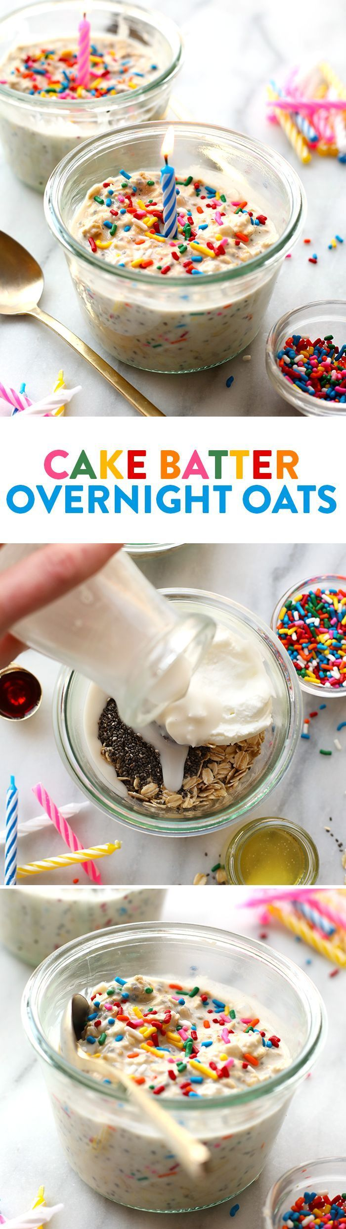 Celebrate your birthday the right way and start off with these HEALTHY Birthday Cake Batter Overnight Oats. They're prepped in less than 5 minutes and packed with healthy ingredients.