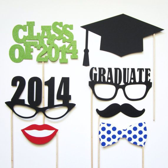 Graduation Photo Booth Props . Set of 7 . You Pick Colors . Class of 2014, $12.00