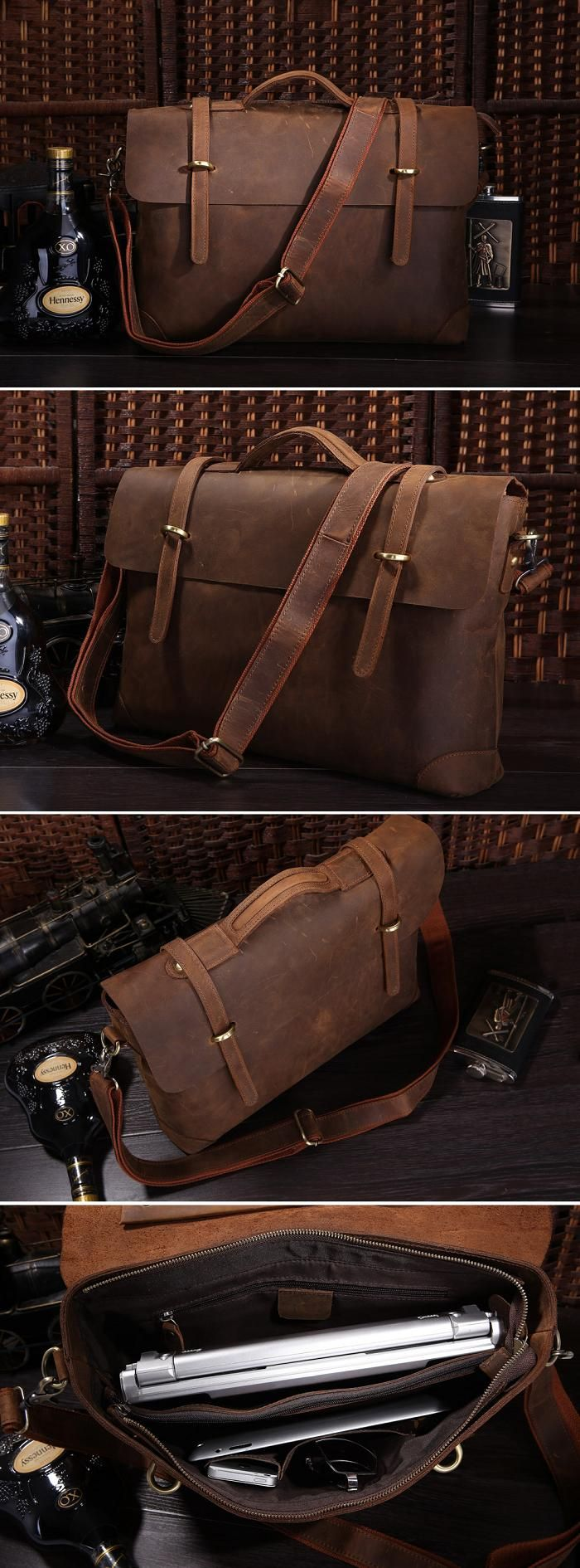 "Men's Vintage Leather Briefcase / Messenger / 14"" Laptop 15"" MacBook Bag"