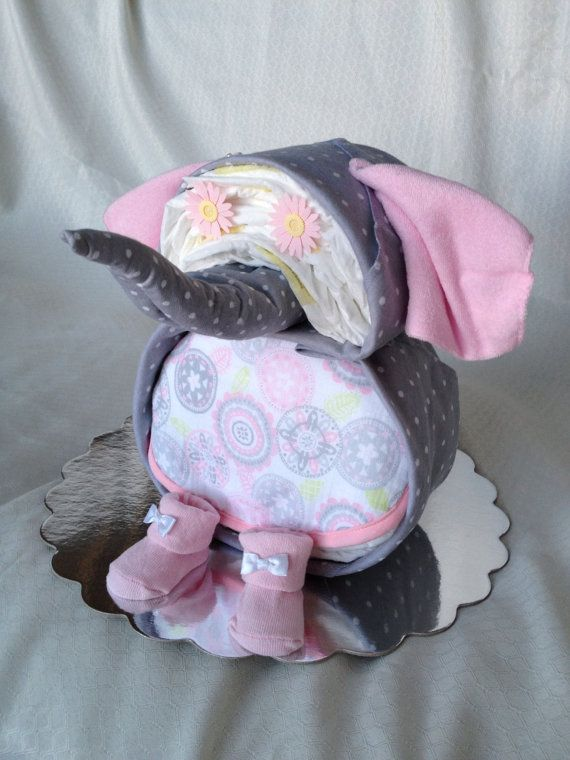 Elephant Shaped Diaper Cake From Baby Booty Diaper Cakes