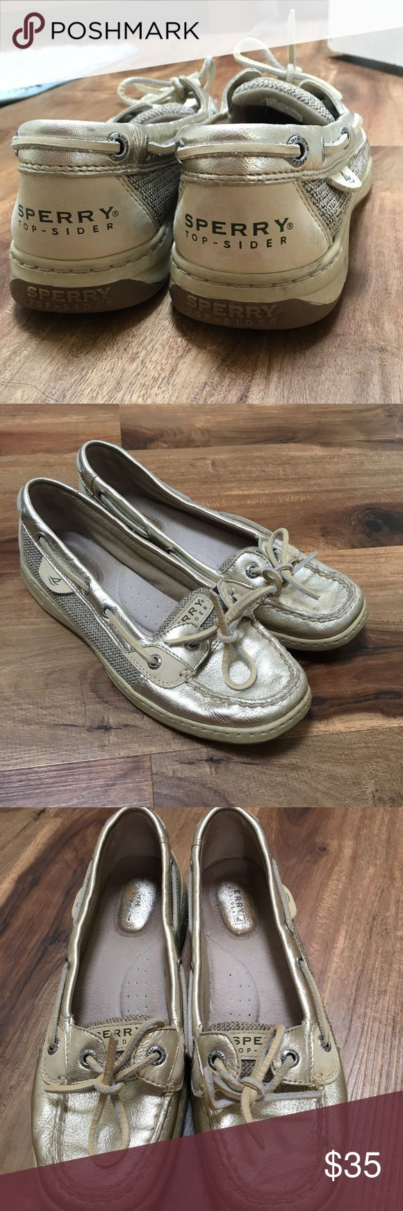 Sperry Angelfish size 7.5 Sperry's Angelfish boat shoe size 7.5 available. Lightly worn, but otherwise in good condition. A feminine twist on the classic boat shoe with a gold toe and accents. Sperry Top-Sider Shoes Flats & Loafers