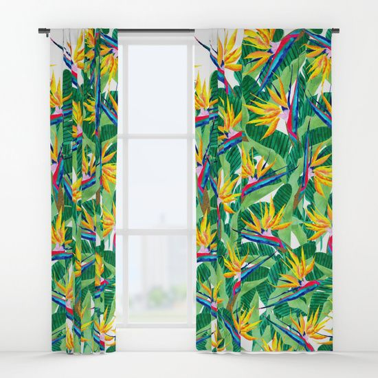 Bird of Paradise curtains @society6 #design #decor #color #trend #house #houzz #botanical #curtains #windows #windwtreatments #panels