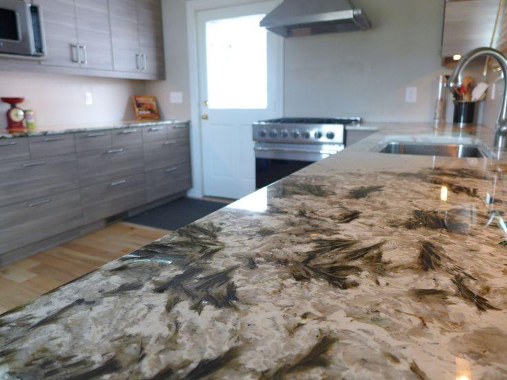 Rustic Kitchen Remodel Alpine White Granite Countertops