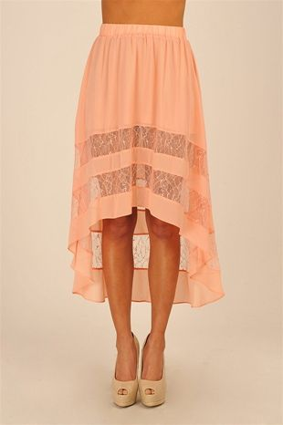 Love! I dont usually like the skirts that are higher in the front and lower in the back but this is adorable!: High Low Skirts, Highlow, Asymmetrical Skirt, Hi Low Skirt, Long Skirts, Cut Outs, Cute Skirts, Peach Skirt