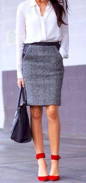 Work White Blouse Grey Pencil Skirt Red Heels