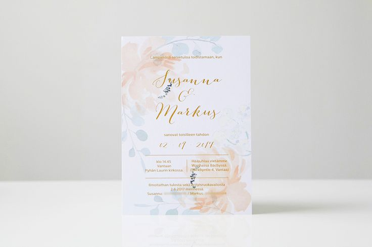 Custom made wedding stationery by www.makeadesign.fi / romantic floral wedding invitation / romanttinen hääkutsu