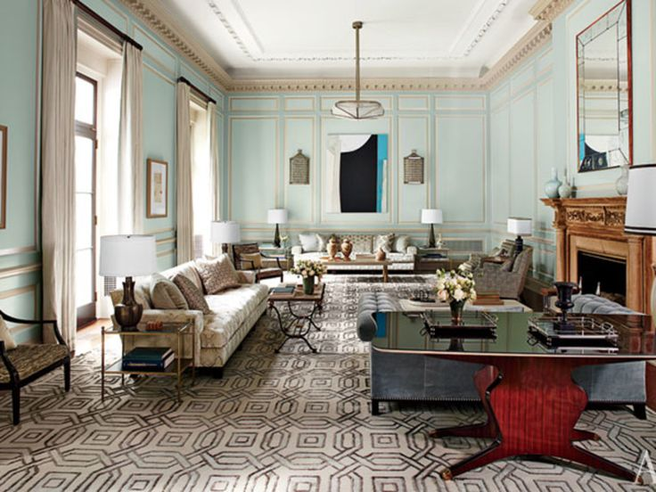 Steven Gambrel Revitalizes A Georgian Style Mansion In Old Westbury New York GambrelGeometric RugCoastal HomesLiving Room