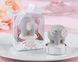 Little Peanut Elephant-Shaped Candle (Set of 4) These endearing Little Peanut elephant-shaped candles by Kate Aspen are most definitely not irr-elephant to your list of perfect pink elehant baby shower decorations or elephant themed birthday party favors. They'll look oh-so-cute as table decorations, or pack them away with tulle and ribbon to give to all your guests!