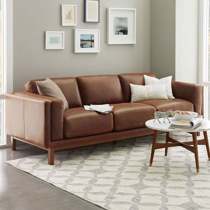 24+ Comfy Modern Leather Brown Sofa Design Ideas for ...