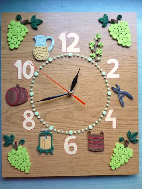 Pap rvil g sz l s fali ra wall clock with grapes for Buy grape vines for crafts