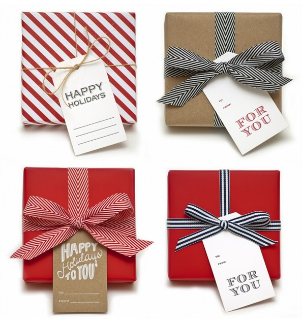 Clean & classic red & white holiday wrapping #camillestyles