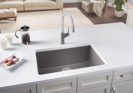 BLANCO PRECIS 27 granite composite undermount kitchen sink in Metallic Gray SILGRANIT