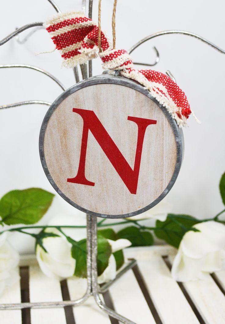 wood initial ornament-n
