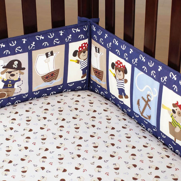 4 Piece Baby Cot Bumper Set Protectors in Pirate | Buy New Arrivals