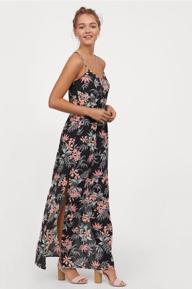 Dluga Sukienka Z Krepy Czarny Kwiaty Ona H M Pl Dresses Maxi Dress Stylish Party Dresses