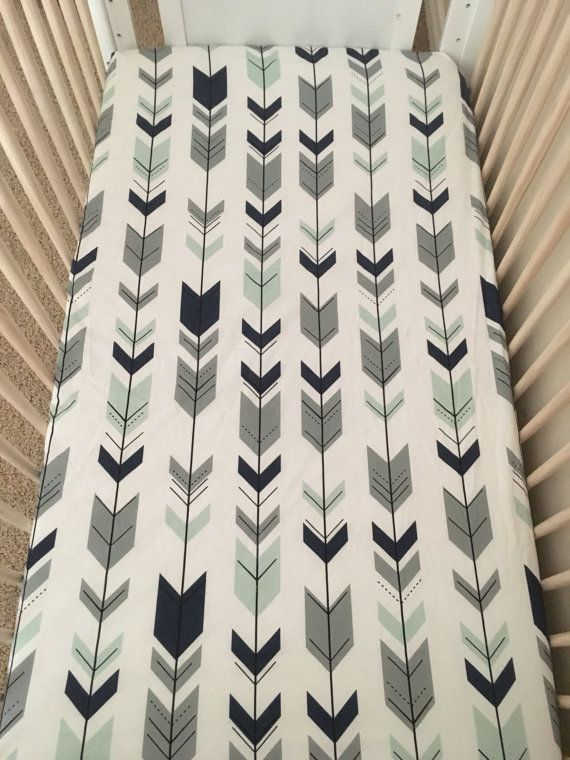 Baby boy bedding on white, navy, grey mint fitted crib sheet, arrows crib sheet, boy bedding, tribal baby, boy nursery, baby bedding, trendy family must haves for the entire family ready to ship! Free shipping over $50. Top brands and stylish products