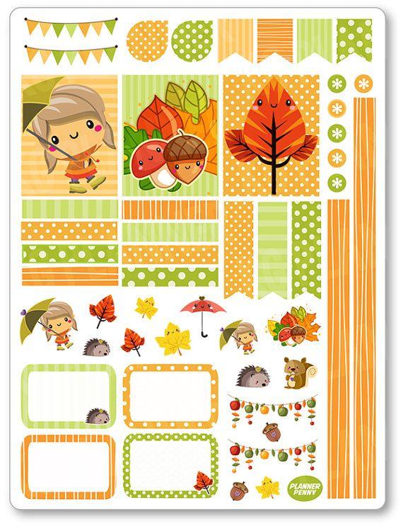 Ragazza di autunno decorazione Kit / settimanale di PlannerPenny