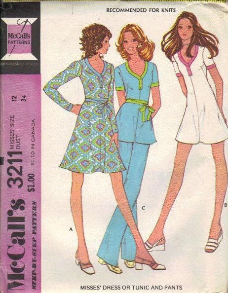 70s McCall's Sewing Pattern Mini Dress Long by AdeleBeeAnnPatterns, $6.00