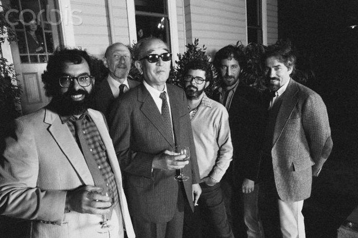 Francis Ford Coppola, Irvin Kershner, Akira Kurosawa, George Lucas, Steven Spielberg, & Carroll Ballard at Coppola's house in San Francisco, 1980