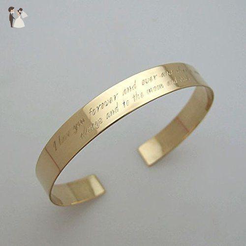 Message Gold Bracelet - Inspirational Quote Cuff Bracelet - Text Engraved Bangle Bracelet - Personal Gift - Yellow Gold Wide Bangle Bracelet - Customized Jewelry - Gift for Her - Wedding bracelets (*Amazon Partner-Link)