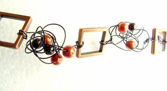Collier de couleur cuivre avec perles et fil de par BoutiqueAnnik, $16.00