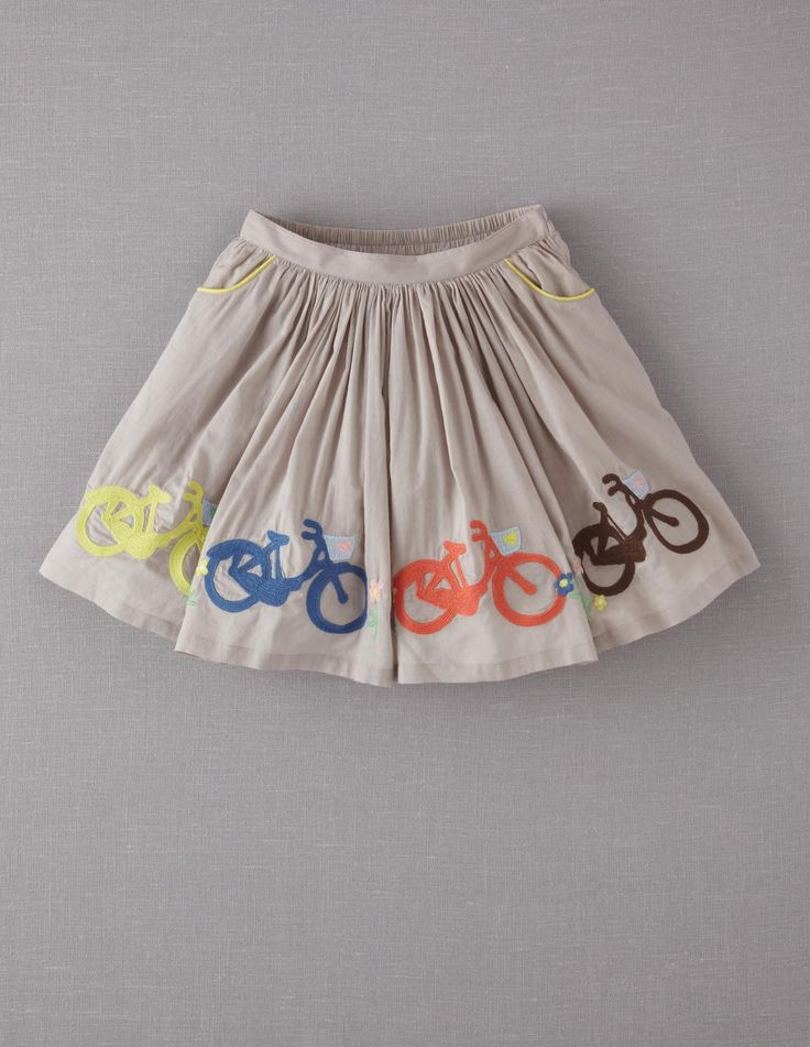 bicycle skirt (mini boden) - this would be an easy DIY with freezer paper stencils and fabric paint... :)
