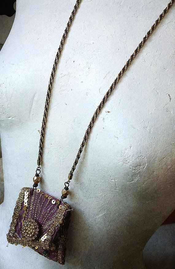 Bohemian gypsy pouch necklace with embroidered and by quisnam