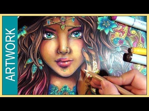Beautiful drawing Copic Marker / Colored Pencils Illustration ✬ The Seer ✬ by Sakuems - YouTube