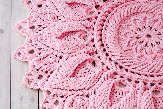 Alfombra de ganchillo rosa redondas alfombra 55 adentro