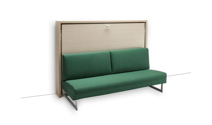 Sofa cama abatible HOUDINI ORIZZONTALE   Material: Acero   Cama de matrimonio de apertura horizontal con sofa incorporado. La estructura de la cama es de melamina con detalles metalicos en aluminio rugoso. El somier es de lamas con una cubierta de melamina disponible en distintos acabados. El sofa es totalmente desenfundable. Un diseno sencillo y funcional que multiplicaq el esapcio habitable. El colchon no esta incluido. ... Desde Eur:5459 / $7260.47