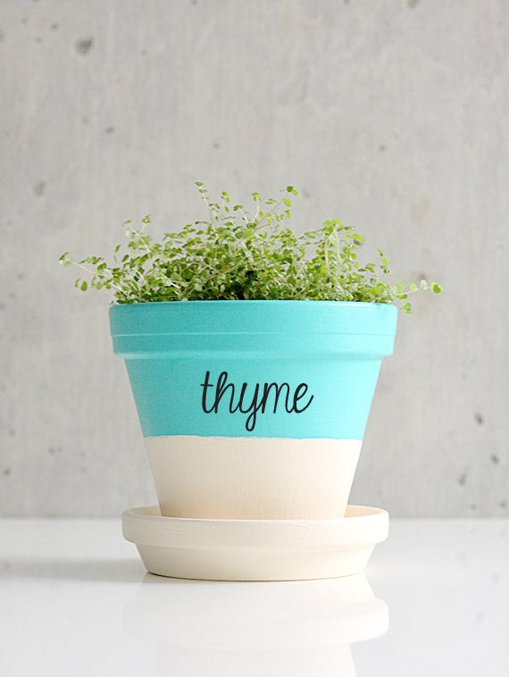 Herb sticker decals are an easy way to personalize pots.