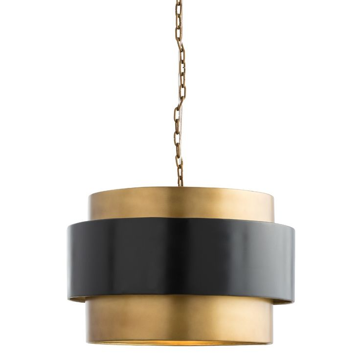 Arterior's Nolan Pendant - brass finished iron light with dark bronze band