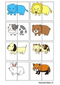 * Een leuk spel voor kleuters. Ze knippen de kaartjes uit. Daarna worden de dieren in het midden door geknipt. Alle stukjes worden door elkaar geschud. TIP: leuke coöperatieve les! 4-5