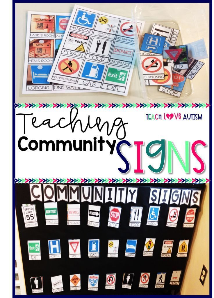 How To Teach Community Signs In The Classroom Teach Love Autism Special Education Teaching Community Signs