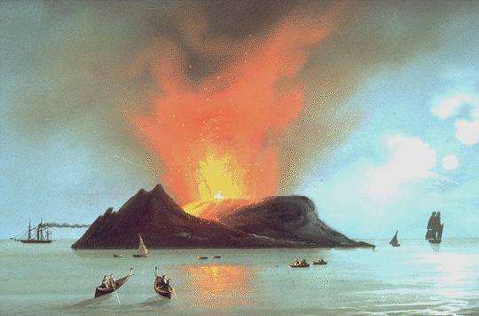 """Eruption of Graham Island"" (1831) Gouache"