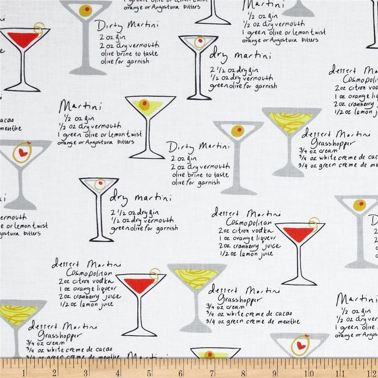 Kanvas Shaken or Stirred Martini Menu White from @fabricdotcom  Designed by Maria Kalinowski for Kanvas Studio in association with Benartex. This fabric is perfect for quilting, apparel and home decor accents. Colors include grey, pale yellow, red, olive, black and white.
