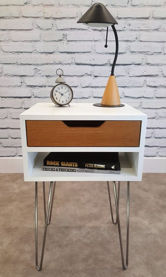 Mid Century Modern, End Table, White Nightstand, Bed Side Table, Hairpin
