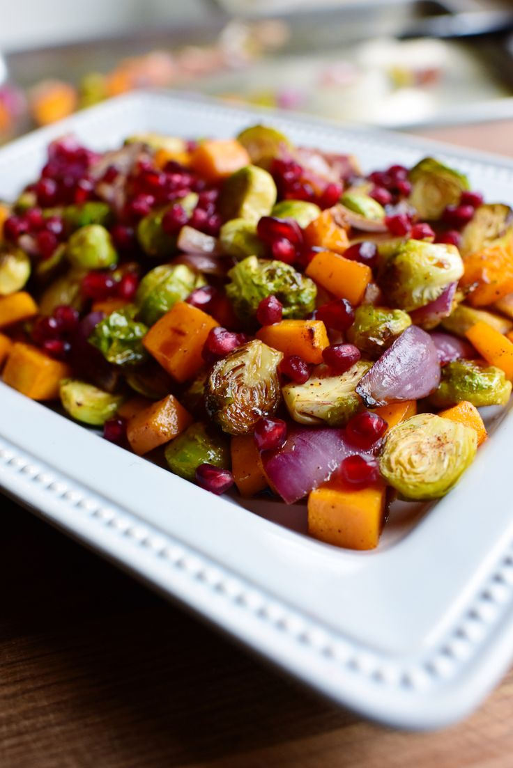 Roasted Brussels Sprouts with Butternut Squash, Red Onion and Pomegranate from Ree Drummond (The Pioneer Woman)