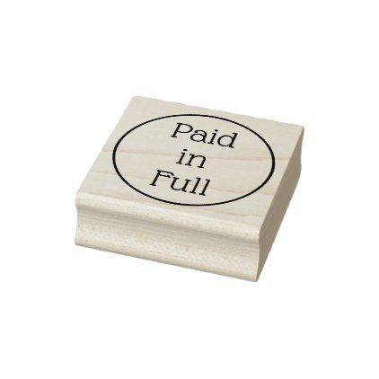 """Minimal """"Paid in Full"""" Rubber Stamp - minimal gifts style template diy unique personalize design"""