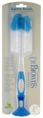 Dr. Brown's Bottle Brush (White/Blue). Designed specifically to clean nipples with ease. Use with all standard and wide neck Dr Brown's natural flow baby bottles. Fixed chevron channels to clean nipples. Grooved no slip latex handle. Storage clip to house brush near sink.