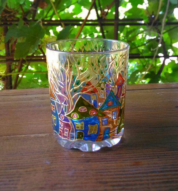 Magic Candle Holder Gift Stained Glass 72 от ArtGlassCo на Etsy